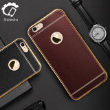 Spedu Litchi Leather with Metal Frame Case For iPhone 5, 5S, 5C, SE, 6, 6 Plus, 6S, 6S Plus, 7, 7 Plus, 8, 8 Plus, X, XR, XS, XS Max, 11, 11 Pro, 11 Pro Max