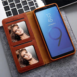 Luxury Leather Magnetic Flip Wallet Case For Samsung Galaxy S7, S7 Edge, S8, S8 Plus, S9, S9 Plus, S10, S10 Plus, S10 5G, Note 8, Note 9, Note 10, Note 10 Plus with Side Card Holder