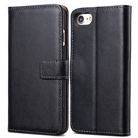 Flip Leather Case with Wallet and Stand for iPhone 7, 7 Plus Black / For iPhone 7 by Tomkas - Titanwise