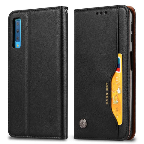 Magnetic Leather Flip Wallet Case with Front Card Holder for Samsung Galaxy A10, A20, A20E, A30, A40, A50, A60, A70, A80, A90