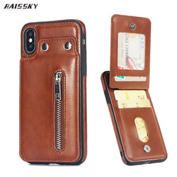 HAISSKY Vertical Flip Wallet Case with Zipper for iPhone 6, 6 Plus, 6S, 6S Plus, 7, 7 Plus, 8, 8 Plus, X, XR, XS, XS Max, Samsung Galaxy S8, S8 Plus, S9, S9 Plus, S10, S10E, S10 Plus