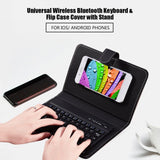 Portable Leather Flip Universal Phone Case with Bluetooth Wireless Keyboard and Kickstand - Available in 7 different colours
