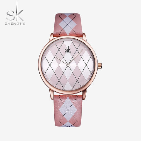 Shengke Relogio Feminino Leather Plaid Design Women's Watch - Available in 5 colours
