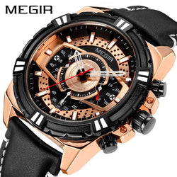New MEGIR Official ML2118G Luxury Men's Watch with Multi-functional Quartz Chronograph