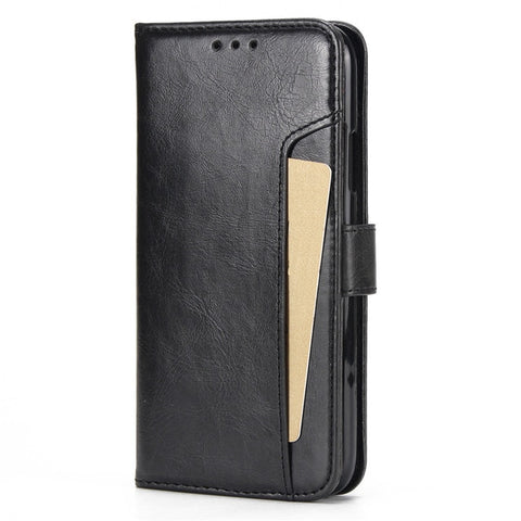 HAISSKY Double Flip Wallet Case with Magnetic Strap and Front Card Slot for iPhone 5, 5S, 5C, SE, 6, 6 Plus, 6S, 6S Plus, 7, 7 Plus, 8, 8 Plus, X, XR, XS, XS Max, 11, 11 Pro, 11 Pro Max