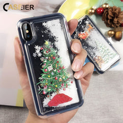 CASEIER Moving Snowflakes Christmas Winter Case for iPhone 6, 6 Plus, 6S, 6S Plus, 7, 7 Plus, 8, 8 Plus, X, XR, XS, XS Max, 11, 11 Pro, 11 Pro Max