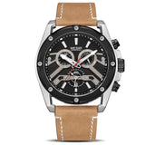 MEGIR Official ML2120G Stainless Steel Chronograph Quartz Men's Watch - Genuine Leather Strap