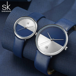SHENGKE Official Minimalist Leather Men's and Women's Quartz Watch - Couple Watch Gift Set