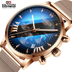 HAIQIN Official Branded HQ-8708 Luxury Stainless Steel Chronograph Men's Watch - Moon Phase Display - Sapphire Crystal Glass