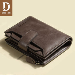 DIDE Genuine Leather Men's Wallet with Zipper Coin Purse - Gift Box Available!