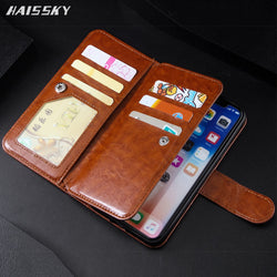 HAISSKY Double Flip High Capacity Wallet Case for iPhone 5, 5S, 5C, SE, 6, 6 Plus, 6S, 6S Plus, 7, 7 Plus, 8, 8 Plus, X, XR, XS, XS Max, 11, 11 Pro, 11 Pro Max