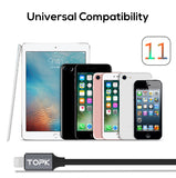 TOPK Voltage and Current Display Durable Nylon Braided Lightning to USB Cable For Apple Products