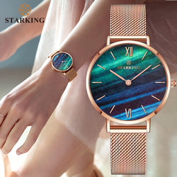 STARKING Official Branded TL0919 Luxury Rose Gold Women's Quartz Watch - Stainless Steel or Genuine Leather Strap