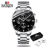 HAIQIN Official HQ8704 Luxury Branded Stainless Steel Men's Watch with Quartz Chronograph