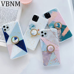 Luxury Gold Foil Geometric Marble Ring Grip Case for iPhone 6, 6 Plus, 6S, 6S Plus, 7, 7 Plus, 8, 8 Plus, X, XR, XS, XS Max, 11, 11 Pro, 11 Pro Max