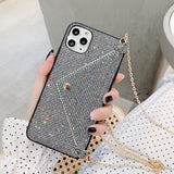 LOVECOM Glitter Button Purse Card Wallet Case for iPhone 6, 6 Plus, 6S, 6S Plus, 7, 7 Plus, 8, 8 Plus, X, XR, XS, XS Max, 11, 11 Pro, 11 Pro Max