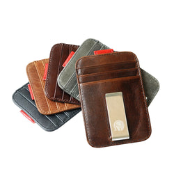 Genuine Leather RFID Blocking Super Slim Wallet with Clip