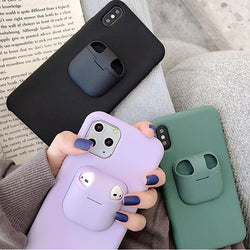 2-In-1 AirPods Storage Box Phone Case for iPhone 7, 7 Plus, 8, 8 Plus, X, XR, XS, XS Max, 11, 11 Pro, 11 Pro Max