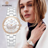 STARKING Official BL0865 Luxury Stainless Steel Women's Watch - Sapphire Crystal Glass - Ceramic Strap - Japanese Quartz - Pearl Shell Crystals