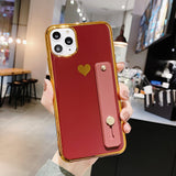 LOVECOM Gold Electroplated Wrist Strap Love-heart Case for iPhone 6, 6 Plus, 6S, 6S Plus, 7, 7 Plus, 8, 8 Plus, X, XR, XS, XS Max, 11, 11 Pro, 11 Pro Max, 12 Mini, 12, 12 Pro, 12 Pro Max