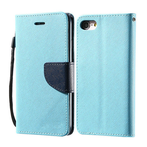Multi-colour Flip Leather Case with Wallet and Stand for iPhone 6, 6 Plus, 6S, 6S Plus, 7, 7 Plus Sky Blue / For iPhone 6 Plus, 6S Plus by Kisscase - Titanwise