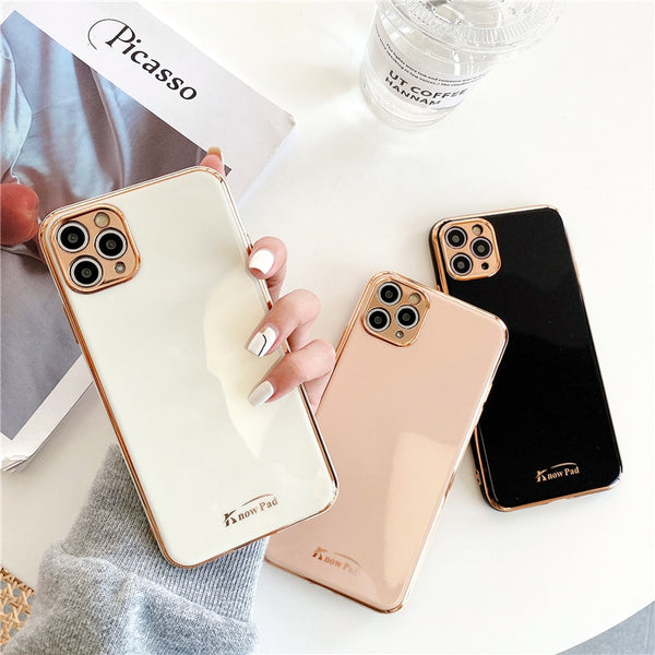 LOVECOM Luxury Gold Electroplated Slim Silicone Case for iPhone 7, 7 Plus, 8, 8 Plus, X, XR, XS, XS Max, 11, 11 Pro, 11 Pro Max