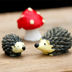 3 Piece Set Mini Hedgehog with Red-dot Mushroom Terrarium Decoration