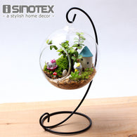 Sinotex Hanging Glass Vase Terrarium Plant Container with Stand