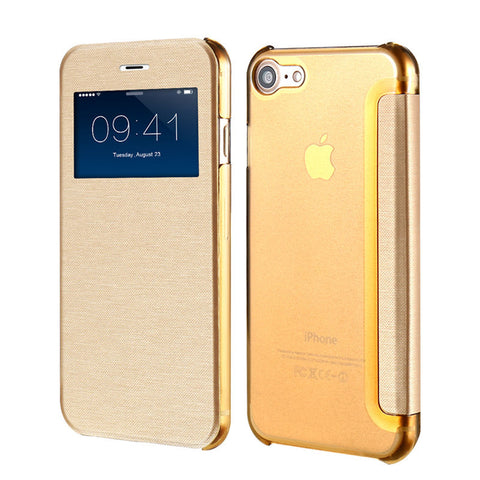 Smart Window View Leather Case for iPhone 7 / 7 Plus Gold / For Iphone 7 by Floveme - Titanwise