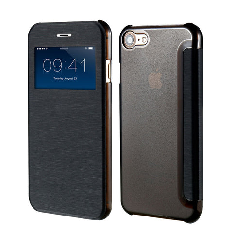 Smart Window View Leather Case for iPhone 7 / 7 Plus Black / For Iphone 7 by Floveme - Titanwise