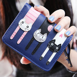 Cat Design PU Leather Women's Short or Long Compact Wallet Purse