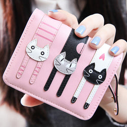 Cat Design PU Leather Women's Short Compact Wallet Purse
