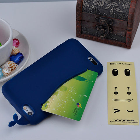Cute Whale Storage Case for iPhone 4, 4S, 5, 5S, 5C, SE, 6, 6S, 7 Deep Blue / For iPhone 4, 4s by Titanwise - Titanwise