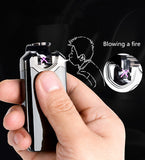 USB Rechargeable Metal Flip Design Plasma Lighter with Double Arc Pulse