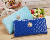 Quilted Stitching Long Women's Wallet Purse with Crown Emblem