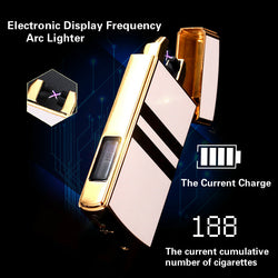 Electronic Display USB Rechargeable Metal Plasma Lighter with Double Arc Pulse