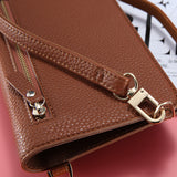 FLOVEME PU Leather Universal Mobile Phone Wallet Case and Shoulder Bag