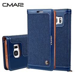 CMAI2 Denim and Leather Pattern Flip Wallet Case For Samsung Galaxy Phones
