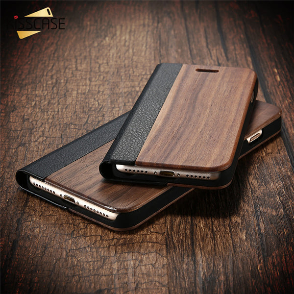 KISSCASE Wood and Leather Fusion Flip Wallet Case For iPhone 6, 6 Plus, 6S, 6S Plus, 7, 7 Plus, 8, 8 Plus, X, Samsung Galaxy S7, S7 Edge