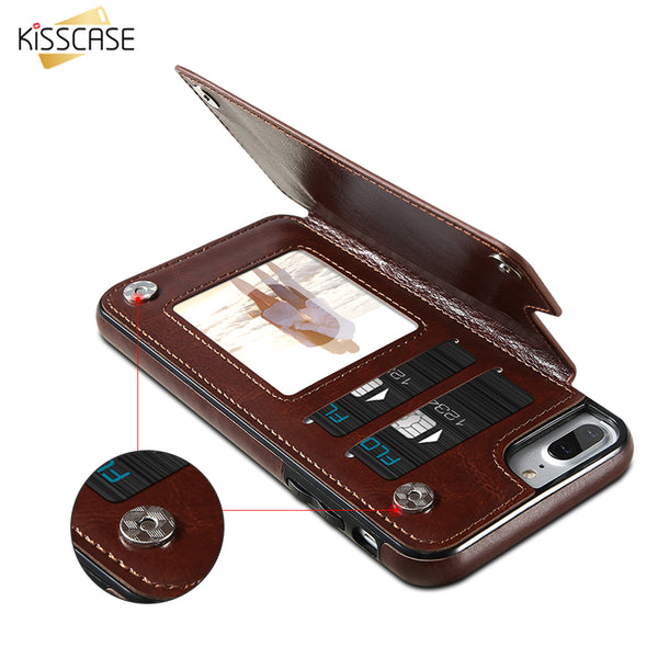 KISSCASE Magnetic Flip Wallet Leather Case for iPhones and Samsung Phones