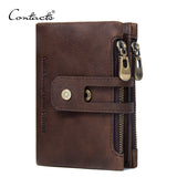 CONTACT'S Genuine Leather Compact Men's Wallet with Dual Zipper Pockets