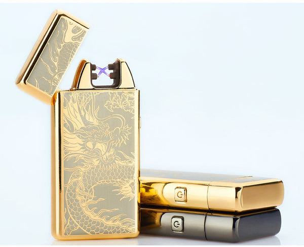 USB Rechargeable Metal Windproof Plasma Lighter with Double Arc Pulse