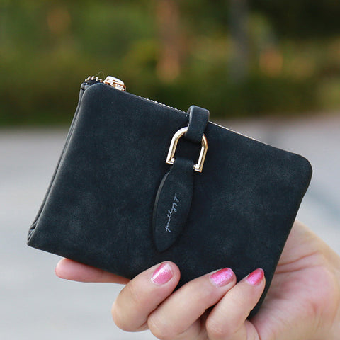 Prettyzys Compact Women's Wallet Purse with Zipper and Button Strap