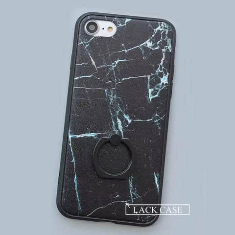 LACK Black & White Marble Ring Grip Case for iPhone 7, 7 Plus