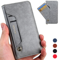 Luxury Leather Magnetic Flip Wallet Case For iPhones, Huawei P20 and Samsung Galaxy Phones with Side Card Holder