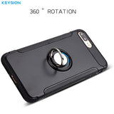 KEYSION Magnetic Car Holder Ring Grip Armour Case for iPhone 6, 6 Plus, 6S, 6S Plus, 7, 7 Plus, 8, 8 Plus, X