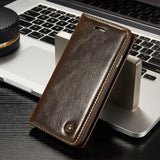Luxury Leather Magnetic Flip Wallet Case For iPhone 5, 5S, 5C, SE, 6, 6S, 6 Plus, 6S Plus, 7, 7 Plus, 8, 8 Plus, X, XR, XS, XS Max