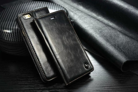Luxury Leather Magnetic Flip Wallet Case For iPhone 5, 5S, 5C, SE, 6, 6S, 6 Plus, 6S Plus, 7, 7 Plus, 8, 8 Plus, X, XR, XS, XS Max, 11, 11 Pro, 11 Pro Max