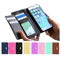 FLOVEME Double Flip Leather Wallet Case For iPhone 5, 5S, 5C, SE, 6, 6 Plus, 6S, 6S Plus, 7, 7 Plus, 8, 8 Plus, X, XR, XS, XS Max, 11, 11 Pro, 11 Pro Max