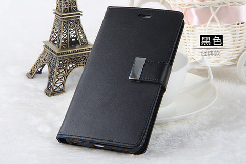 FLOVEME Double Flip Leather Wallet Case For iPhone 5, 5S, 5C, SE, 6, 6 Plus, 6S, 6S Plus, 7, 7 Plus, 8, 8 Plus, X, XR, XS, XS Max